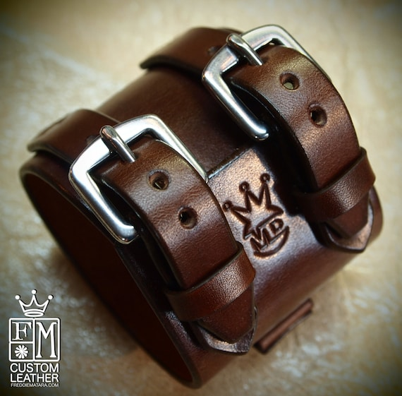 Leather wrist cuff Best quality Brown Depp style bracelet Made for You in USA by Freddie Matara