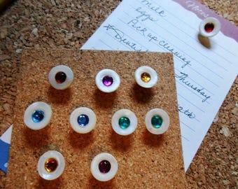 10 Shell and Rhinestone Push Pin Thumb Tack Set Repurposed Buttons Multi Color