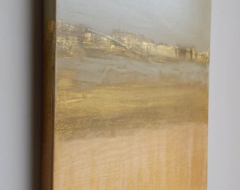 Golden Landscape--Abstract, Mixed Media Painting With Gold Leaf on Panel 16 x16
