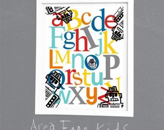 Alphabet Robot ABC Nursery Art Print