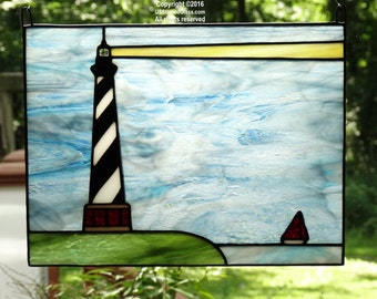 Cape Hatteras Lighthouse with Sailboat Stained Glass Panel, Nautical Decor, Beach Decor, Coastal Decor, Lighthouse Decor, Glass Art, Gift