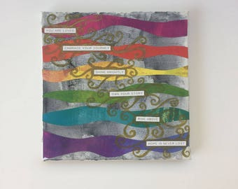 Rainbow Hope - Mixed Media - Watercolor Canvas