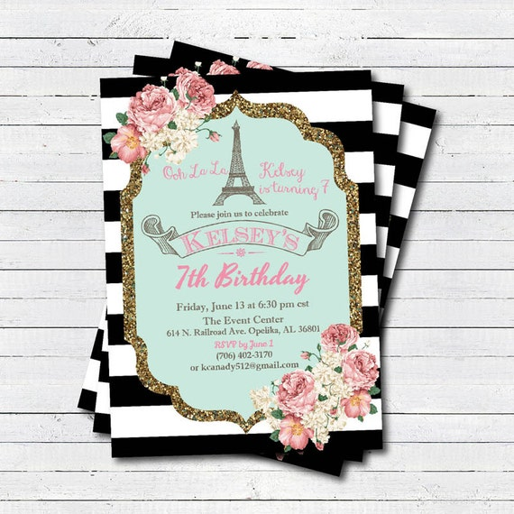 invitation d 39 anniversaire tour eiffel de paris invitation. Black Bedroom Furniture Sets. Home Design Ideas