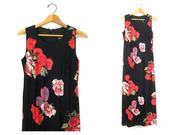 90s Rose Print Dress Black Long rayon Maxi Dress Sleeveless Flower Pattern Sun Dress Slip Floral 1990s Women's Size 6 Small Medium