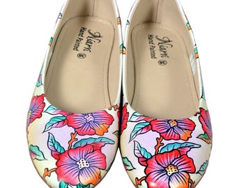 Hand Painted Genuine Leather Ballerinas - Sicily Strings