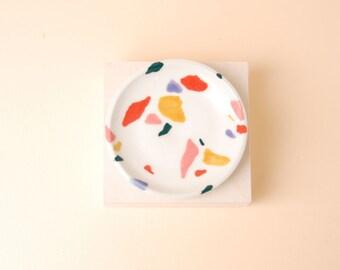 Ceramic Jewelry Dish / Terrazzo Ring Dish / Porcelain Decorative Tray