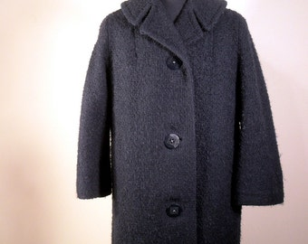 Vintage Winter Coat 1960s Navy Blue Nubby Wool A Line Jacket