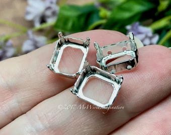 12x10mm Octagon Settings, Art 4600,  3 Pieces Silver or Gold Plated, Craft Supplies, Jewelry Making, Gemstone Crystal Rhinestone Settings