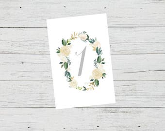 Printable Table Number Cards - Romantic Wreath Foliage Wedding Table Numbers Printable - Number 1 to 20