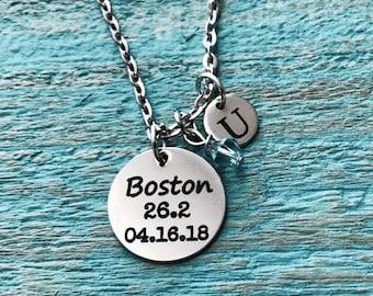 Boston 26.2, Date, Boston Marathon Runner's, Running Necklace, Marathon Necklace, Runner Gift, Running shoes. Silver Necklace, Charm Jewelry