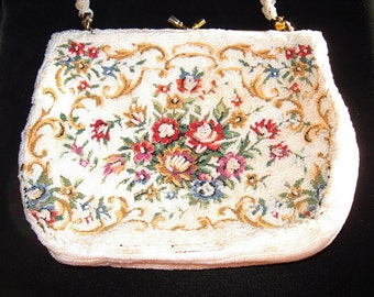 Caviar Pearl Beaded Tapestry  Vintage Evening Purse Mint Item # 54  Purses