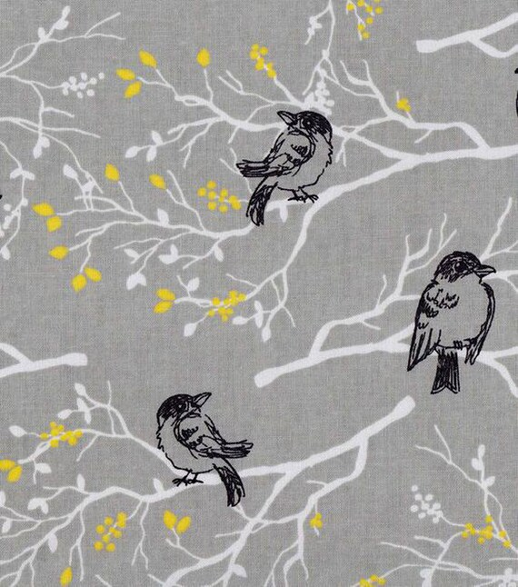 Gray Bird Fabric - Cotton Fabric - Bird Fabric - Gray Fabric ...