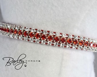 "NEW! Radiance Red Petite Rhinestone Dog Cat Pet Collar - 3 Row Preciosa® Light Siam & Crystal 3/8"" Wide 10"" 12"" 14"""