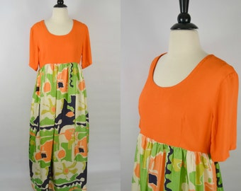 1970s Orange Abstract Print Empire Waist Maxi Dress by Keyloun, Short Sleeve, Floor Length