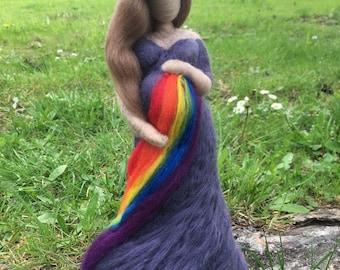 Custom Needle Felted Pregnant Rainbow Baby Figurine
