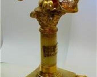 """MUSEUM Georgian Verge Fusee Doctors Skull """"Memento Mori"""" Pedestal Clock c1770"""