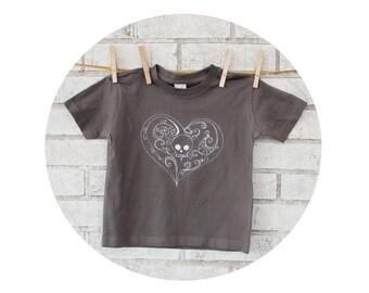 Skull and Heart Youth Graphic Tee Shirt, Short Sleeved Cotton Crewneck, Dark Grey Top, Hand Screenprinted, Punk Rock Kids, Toddler Clothing
