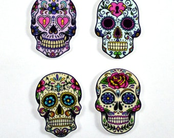 Mexican Sugar Skull  Plastic Planar Halloween Skeleton Colors Resin Cabochon Flat back Embellishments Center