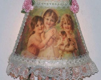 3 Victorian Girls Night Light with Pink Beaded Fringe and Lace