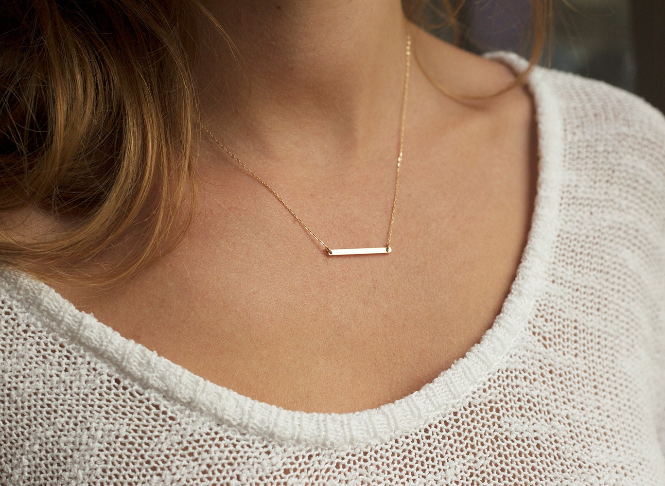 products bar necklace horizontal rosegold