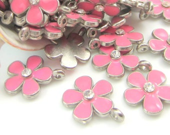 10 Silver Flower charms  pink cherry blossoms wedding supplies pink enameled flowers  jewelry findings 15mm x 18mm silver flower BUS494(AA2)