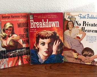 Lot of 3 Vintage Pulp Fiction Books