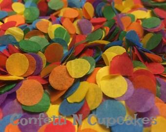 Confettis de papier de soie, arc en ciel confetti, décor de fête d'anniversaire, fête des confettis, piñatas, dispersion de table arc en ciel, pop de confettis, rouge bleu violet