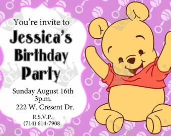 Baby Winnie The Pooh Birthday Party Invitation, DIY