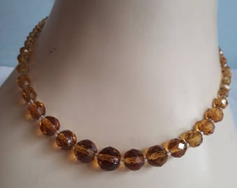 50's/60's Amber Glass Graduated Bugle Bead Necklace