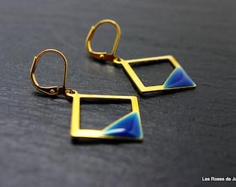 Earrings square earrings, gold earrings, graphic, 80's, gold filled