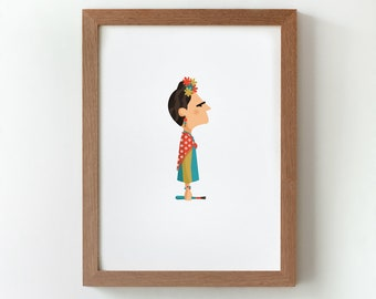 Illustration, Print, Frida, Tutticonfetti, Wall art, Art decor, Hanging wall, Printed art, Decor home, Gift idea, Sweet home.