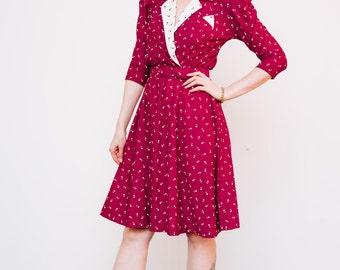 Vintage 1980's Dress 'Better Off Burgundy' Swing Circle Polka Dot Pin Up Mad Men Secretary Dress Medium