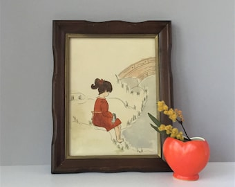 Girl With Doll Watercolor, Original Vintage Art, Nursery Decor, Little Girl's Room, Framed Painting, Pen and Ink Drawing