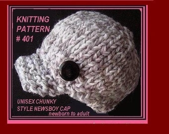 Instant download -  Knitting Pattern Hat -(pdf file) , Unisex boy, girl, children, adult, men, women. num 401