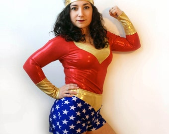 Wonder Woman Halloween Costume Womens Top Shorts and Crown MADE TO ORDER