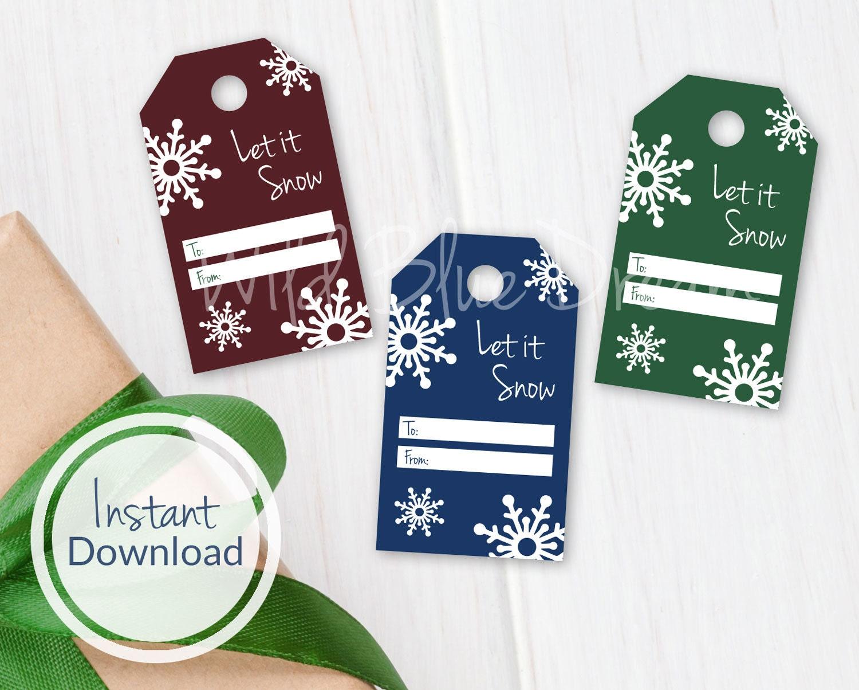 Lassen Sie es Schnee druckbare Geschenkanhänger Weihnachten