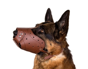 Leather Dog Muzzle German Shepherd Secure Black Brown Large