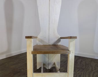 Reclaimed Timber Throne High Backed Chair