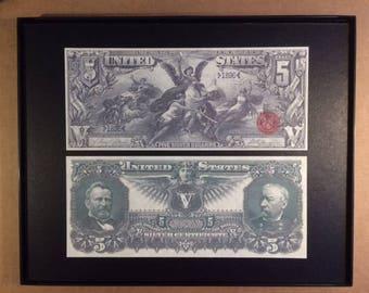 1896 Reprint Five Dollar US Curerrency Framed Art Piece