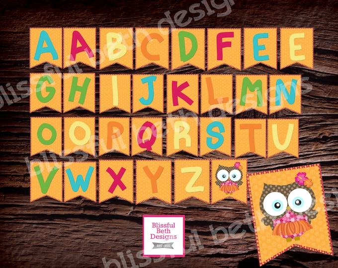ALOHA OWL BANNER, Aloha Owl, Owl Banner, Alphabet Banner, Owl Alphabet Owl, Owl Alphabet, Aloha, Aloha Alphabet