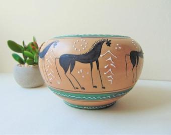 Italian Faience Bowl Serapino Volpi Tube Lined Deruta Hand Crafted Decorative Vintage Majolica Ceramic Planter Home Decor