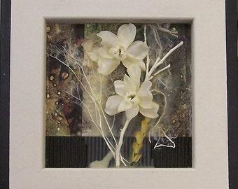 Flower art, Encaustic art, wax art, beeswax collage, mixed media art, dimensional art, flower art, 3d art, collage art