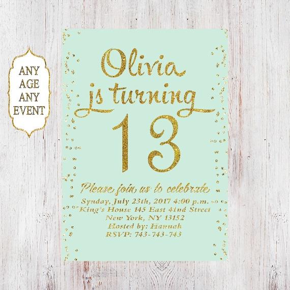 13th birthday invitation birthday party invitations teen girl 13th birthday invitation birthday party invitations teen girl mint and gold 14th15th16th17th18th19th any age 04 stopboris Images