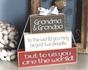 Nana & Papa Christmas gift, grandparents gift or Pregnancy reveal announcement. Nana, Grandma, Papa. Wooden block stack. You are the world!