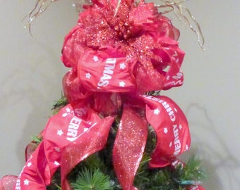 Red Ribbon Tree topper - Ribbon topper - Tree decorations - Bow Tree Topper - Christmas decorations - Traditional toppers