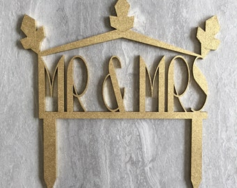 Art Deco Mr and Mrs wooden wedding decoration in gold