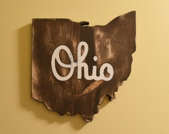Ohio Wall Art Heritage Edition - Handmade Wooden Ohio Sign - Ohio Script Wall Decor