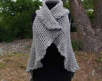 Woolen crochet vest. Womens mandala vest. Boho gray vest. Round vest. Circle vest.