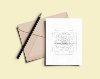 Greeting Cards to Color In - Printable Coloring Card Download -  7 x 5 Card - Original Designs #29