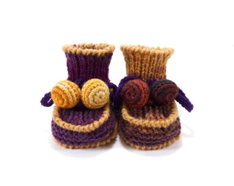 Baby Booties Knitted - Purple and Light Brown, 0 - 3 months